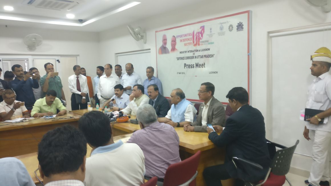 DG SIDM attending the press meet at the Industry Interaction on Defence Corridor in Uttar Pradesh, Lucknow