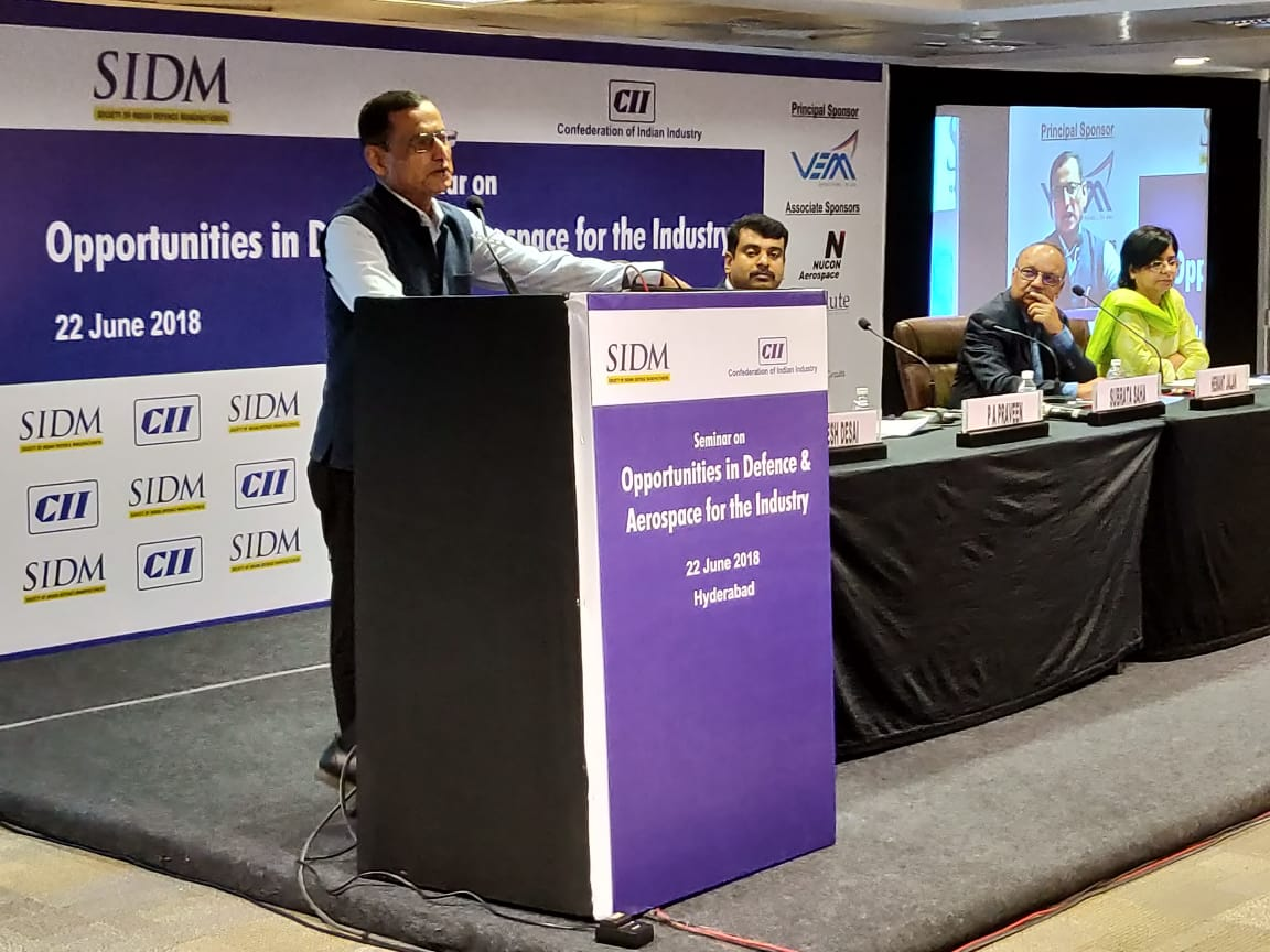 Lt Gen Subrata Saha, PVSM, UYSM, YSM, VSM** (Retd), Director General, SIDM addressing the seminar on 'Opportunities for Industry in Defence & Aerospace' in Hyderabad