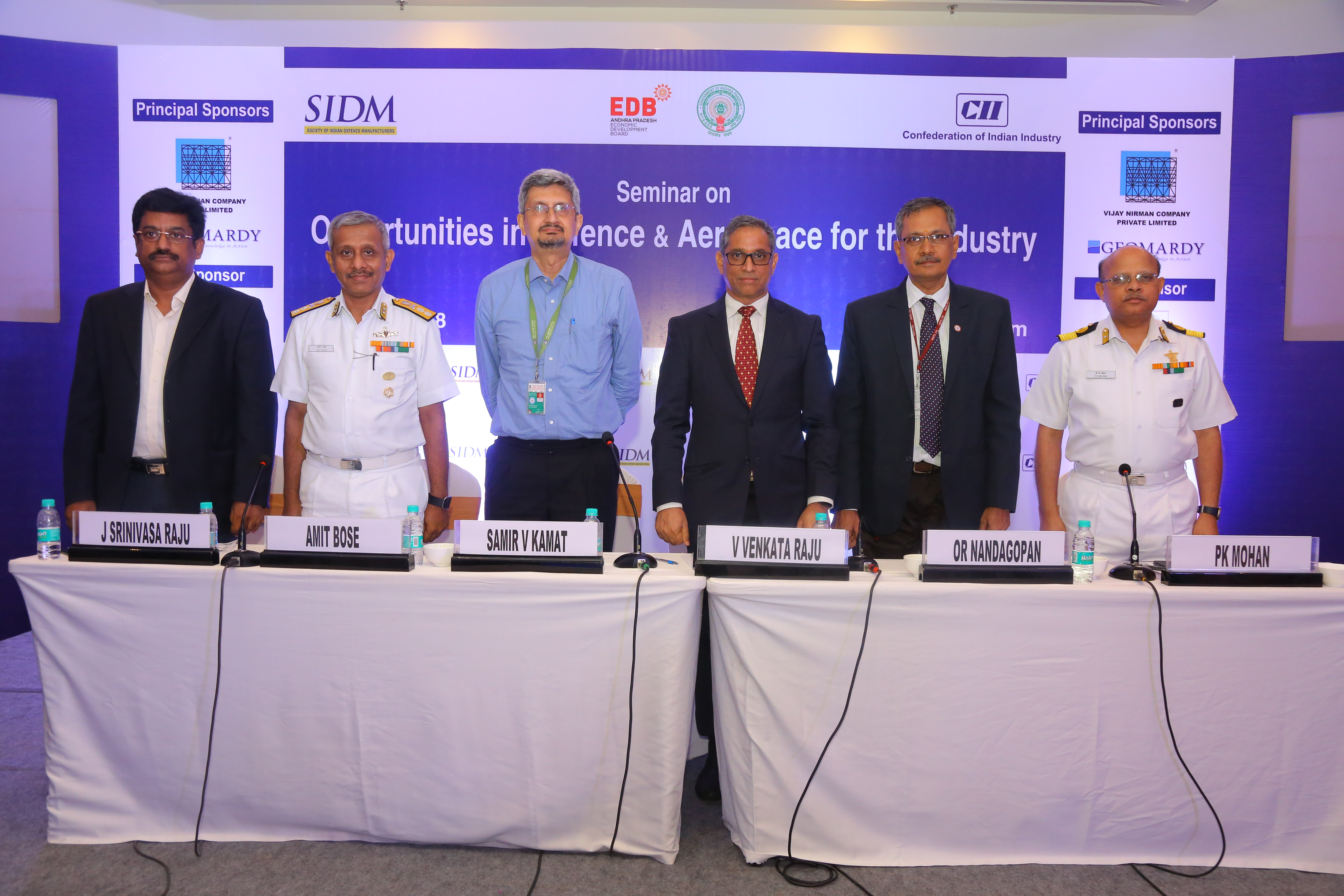 Panelists at the Seminar on 'Opportunities in Defence & Aerospace for Industry', Visakhapatnam, 21 June 2018