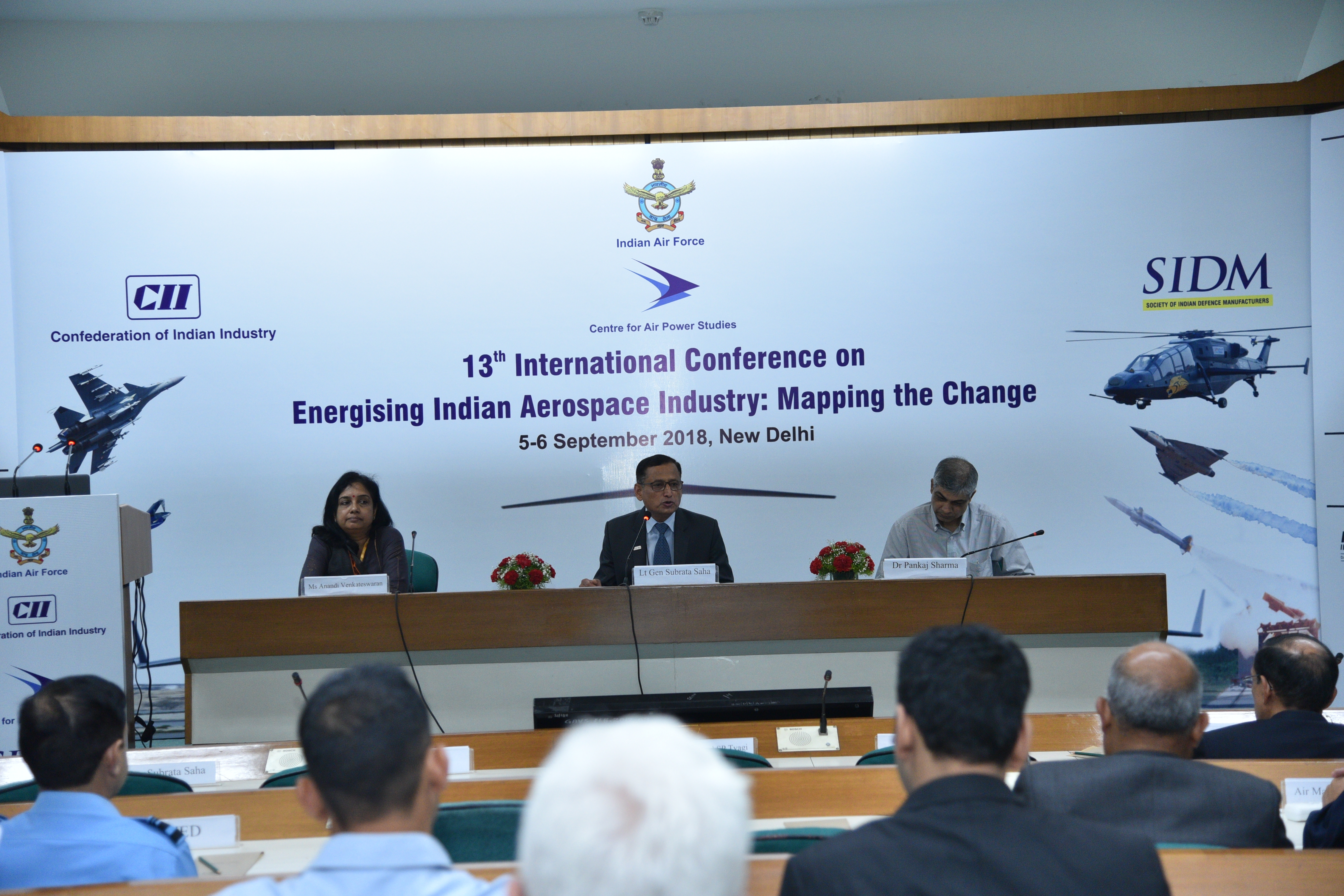 DG SIDM moderating a panel session with Joint Secretary and Under Secretary (D&ISA), MEA at the 13th International Conference on Energising Indian Aerospace Industry